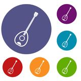 Saz turkish music instrument icons set Stock Image