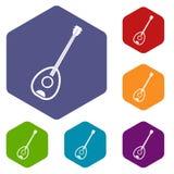 Saz turkish music instrument icons set hexagon. Isolated vector illustration Royalty Free Stock Photos