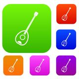 Saz turkish music instrument set color collection Stock Images