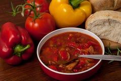 Sazona la sopa con pimienta Foto de archivo libre de regalías