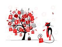 Sazone el árbol de la venta, gato de la moda con el bolso de compras Imagen de archivo