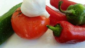 Sazone el agua mojada del goteo con pimienta, cámara lenta del tomate del ajo almacen de metraje de vídeo