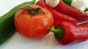 Sazone el agua mojada orgánica del goteo con pimienta, cámara lenta del tomate del ajo almacen de video