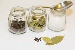 Sazone la coctelera y varios pequeños tarros del bol de vidrio con pimienta y pequeños con las diversas especias en un fondo lige Imágenes de archivo libres de regalías