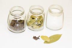 Sazone la coctelera y varios pequeños tarros del bol de vidrio con pimienta y pequeños con las diversas especias en un fondo lige Foto de archivo