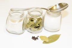 Sazone la coctelera y varios pequeños tarros del bol de vidrio con pimienta y pequeños con las diversas especias en un fondo lige Fotos de archivo libres de regalías