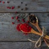 Sazone la mezcla con pimienta en las cucharas de madera en la tabla rústica, especias indias coloridas Fotos de archivo libres de regalías