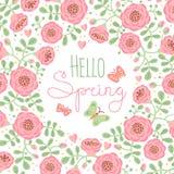Sazone la primavera de la tarjeta hola con las flores lindas y libre illustration