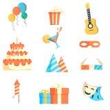 Sazone las bodas celebración de los días de fiesta y los iconos de las fiestas de cumpleaños fijados Imágenes de archivo libres de regalías
