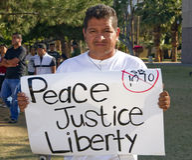 SB 1070 de la ley de la inmigración de Arizona de la protesta Fotos de archivo libres de regalías
