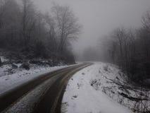 Sb del árbol de la niebla del camino, montaña del iw Imagen de archivo libre de regalías