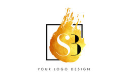 SB Gold Letter Logo Painted Brush Texture Strokes. vector illustration