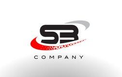 SB Modern Letter Logo Design with Red Dotted Swoosh stock illustration