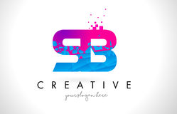 SB S B Letter Logo with Shattered Broken Blue Pink Texture Desig Stock Photography