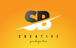 SB S B Letter Modern Logo Design with Yellow Background and Swoo. SB S B Letter Modern Logo Design with Swoosh Cutting the Middle Letters and Yellow Background Stock Image