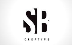 SB S B White Letter Logo Design with Black Square. stock illustration