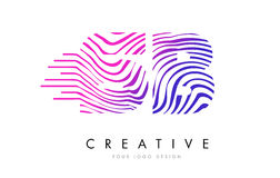SB S B Zebra Lines Letter Logo Design with Magenta Colors vector illustration