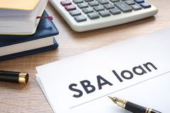 SBA loan form on an office table. SBA loan form on the office table stock image