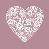 Background with hearts from flowers. Sbackground with hearts from flowers laser cut vector illustration