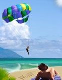 Sbarcando sulla distorsione di velocità! vacanza tropicale del mare. Immagini Stock