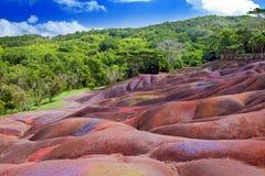 Sbarchi di Mauritius.Chamarel-seven-color. Immagini Stock Libere da Diritti