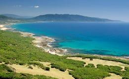 Sbarco verde con il mare blu Immagini Stock Libere da Diritti