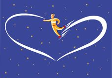 Sbatter dreamy in the sky. Skater dreamy leaves a trail of light heart-shaped Stock Photography