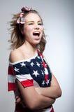 Sbattere le palpebre ragazza americana Fotografie Stock Libere da Diritti