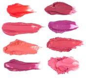 Sbavature del rossetto isolate su bianco Fotografia Stock Libera da Diritti