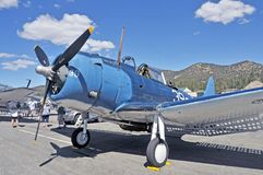 SBD Dauntless. First introduced in 1940, The Dauntless was flown by the Navy and Marines in dive bombing and scouting roles. Later, it was flown by the Army Air Stock Photography