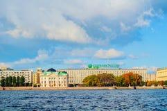 Sberbank办公楼在Petrovsky堤防的在圣彼德堡,俄罗斯 库存图片