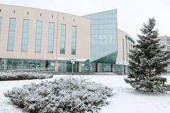 Sberbank大办公室位于大厦玻璃和浓缩 图库摄影