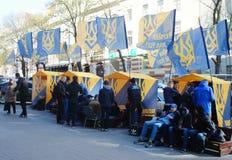 Sberbank Войска стоят предохранитель против протестующих Стоковые Изображения