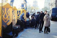 Sberbank Войска стоят предохранитель против протестующих Стоковые Фото