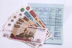 Sberbank de Rússia passbook Rublos do russo Fotografia de Stock Royalty Free