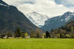 Sbirciata d'altezza maestosa di Jungfrau dei 4158 tester nelle alpi di Bernese Immagini Stock
