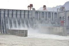 Sbocco della stazione di idropotenza di Xiangjiaba! Fotografie Stock Libere da Diritti
