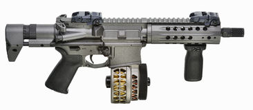 SBR AR15 with drum mag and fwd pistol grip stock photography