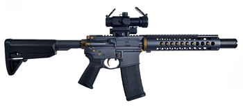 SBR AR15 / M16 with collapsible stock, 10` barrel with large muzzle device Royalty Free Stock Images