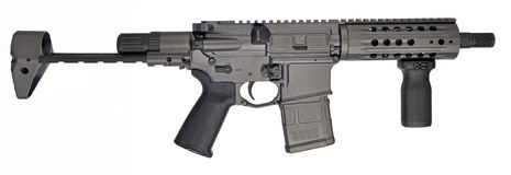 SBR AR15 / M16 with collapsible stock, 7.5` barrel and 20rd mag Royalty Free Stock Photo