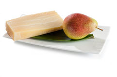 Sbrinz  and pear Royalty Free Stock Photos