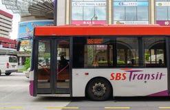 SBS Transit bus on street in Singapore Royalty Free Stock Photos