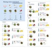 Sbucciatura dell'insieme di vettore di miscugli dell'alimento e del vino fotografia stock