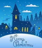 Scène 1 de soirée de Joyeux Noël illustration de vecteur