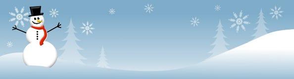 Scène 2 van de Winter van de sneeuwman Royalty-vrije Stock Afbeelding