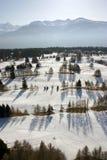 Scène aérienne de neige Photographie stock