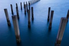 Scène abstraite de réclamation de port maritime d'abandon Photographie stock