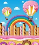 Scène avec des enfants volant dans des ballons de sucrerie Photo libre de droits