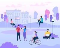 Scène avec des vacances de famille actives, activités de parc illustration libre de droits