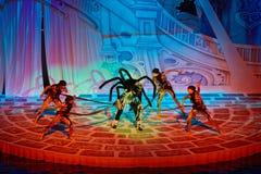 Scène avec l'araignée sur l'étape à la piscine Image libre de droits
